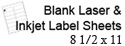 Blank Laser and Inkjet Label Sheets