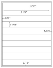 8 1/4 x 1 1/16 Rectangle<BR>Removable White Label Sheet<BR>Wholesale Pkg. 250 sheets<BR><B>USUALLY SHIPS WITHIN 24 HRS</B>