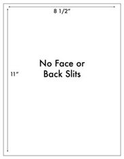 8 1/2 x 11 Rectangle w/ no face or back slits<BR>Clear Gloss Laser Label Sheet<BR>Wholesale Pkg. 250 sheets<BR><B>USUALLY SHIPS WITHIN 24 HRS</B>