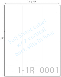 8 1/2 x 11 Rectangle w/ 2 Slits CRACK BACK<BR>Standard White Uncoated Label Sheet<BR>Wholesale Pkg. 250 sheets<BR><B>USUALLY SHIPS WITHIN 24 HRS</B>