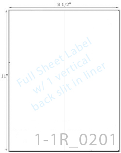 8 1/2 x 11 Rectangle w/ 1 Vert Slit<BR>All Temperature White Label Sheet<BR>Wholesale Pkg. 250 sheets<BR><B>USUALLY SHIPS WITHIN 24 HRS</B>