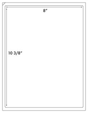 8 x 10 3/8 Rectangle (front slit)<BR>White Opaque BLOCKOUT Label Sheet<BR>Wholesale Pkg. 250 sheets<BR><B>USUALLY SHIPS WITHIN 24 HRS</B>