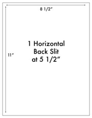 8 1/2 x 11 Rectangle w/ 1 horizontal back slit<BR>Standard Uncoated White Printed Label Sheet<BR><B>USUALLY SHIPS IN 2-3 BUSINESS DAYS</B>