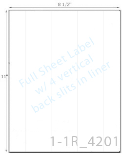 8 1/2 x 11 Rectangle w/ 4 Vert Slit<BR>All Temperature White Label Sheet<BR>Wholesale Pkg. 250 sheets<BR><B>USUALLY SHIPS WITHIN 24 HRS</B>