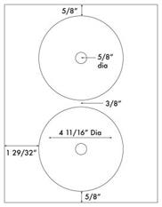 4 11/16 Diameter CD Donut (small hole)<BR>PREMIUM Water-Resistant Inkjet Label Sheet<BR>Wholesale Pkg. 250 sheets<BR><B>USUALLY SHIPS WITHIN 24 HRS</B>