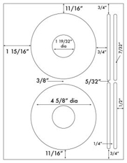 4 5/8 Diameter CD - 2 w/ spine<BR>Process Blue Label Sheet<BR>Wholesale Pkg. 250 sheets<BR><B>USUALLY SHIPS WITHIN 24 HRS</B>
