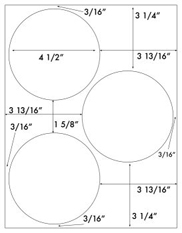 4 1/2 Diameter Round Circle<BR>Removable White Printed Label Sheet<BR><B>USUALLY SHIPS IN 2-3 BUSINESS DAYS</B>