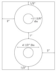 4 1/2 Diameter CD Donut <BR>Standard Uncoated White Printed Label Sheet<BR><B>USUALLY SHIPS IN 2-3 BUSINESS DAYS</B>