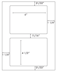 6 x 4 1/2 Rectangle <BR>White High Gloss Laser Label Sheet<BR>Wholesale Pkg. 250 sheets<BR><B>USUALLY SHIPS WITHIN 24 HRS</B>