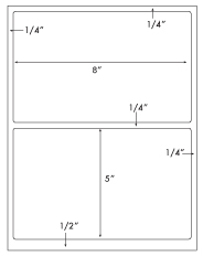 8 x 5 Rectangle w/ gutter<BR>Standard White Uncoated Label Sheet<BR>Wholesale Pkg. 250 sheets<BR><B>USUALLY SHIPS WITHIN 24 HRS</B>