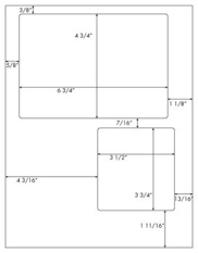 6 3/4 x 4 3/4 & 3 1/2 x 3 3/4 Rectangle (USPS Click N Ship)<BR>White High Gloss Laser Label Sheet<BR>Wholesale Pkg. 250 sheets<BR><B>USUALLY SHIPS WITHIN 24 HRS</B>