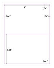 8 x 5 1/4 Rectangle<BR>White High Gloss Laser Label Sheet<BR>Wholesale Pkg. 250 sheets<BR><B>USUALLY SHIPS WITHIN 24 HRS</B>