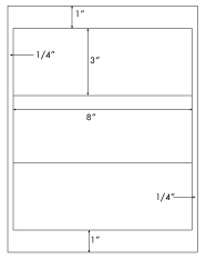 8 x 3 Rectangle <BR>Standard White Uncoated Label Sheet<BR>Wholesale Pkg. 250 sheets<BR><B>USUALLY SHIPS WITHIN 24 HRS</B>