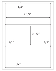 7 1/2 x 3 1/2 Rectangle <BR>Water Resistant White Polyester Label Sheet <BR><I>Laser Printers Only</I><BR>Wholesale Pkg. 250 sheets<BR><B>USUALLY SHIPS WITHIN 24 HRS</B>