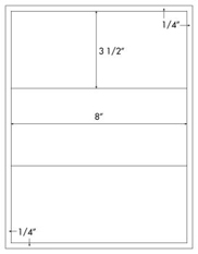 8 x 3 1/2 Rectangle<BR>White High Gloss Laser Label Sheet<BR>Wholesale Pkg. 250 sheets<BR><B>USUALLY SHIPS WITHIN 24 HRS</B>