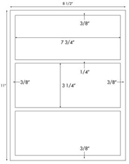 7 3/4 x 3 1/4 Rectangle<BR>Standard White Uncoated Label Sheet<BR>Wholesale Pkg. 250 sheets<BR><B>USUALLY SHIPS WITHIN 24 HRS</B>