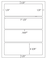 7 1/2 x 2 3/8 Rectangle <BR>Water Resistant White Polyester Label Sheet <BR><I>Laser Printers Only</I><BR>Wholesale Pkg. 250 sheets<BR><B>USUALLY SHIPS WITHIN 24 HRS</B>