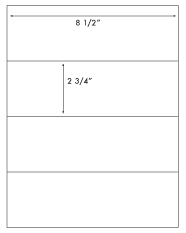 8 1/2 x 2 3/4 Rectangle <BR>Natural Ivory Label Sheet<BR>Wholesale Pkg. 250 sheets<BR><B>USUALLY SHIPS WITHIN 3 DAYS</B>