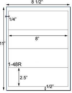 8 x 2 1/2 Rectangle <BR>White High Gloss Laser Label Sheet<BR>Wholesale Pkg. 250 sheets<BR><B>USUALLY SHIPS WITHIN 24 HRS</B>