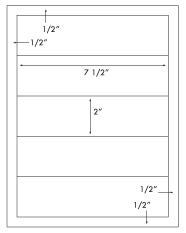7 1/2 x 2 Rectangle <BR>Removable White Printed Label Sheet<BR><B>USUALLY SHIPS IN 2-3 BUSINESS DAYS</B>