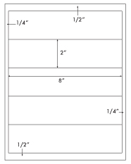8 x 2 Rectangle <BR>Recycled White Label Sheet<BR>Wholesale Pkg. 250 sheets<BR><B>USUALLY SHIPS WITHIN 24 HRS</B>