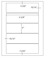 6 5/8 x 2 Rectangle <BR>Natural Ivory Label Sheet<BR>Wholesale Pkg. 250 sheets<BR><B>USUALLY SHIPS WITHIN 3 DAYS</B>