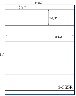 8 1/2 x 2 Rectangle <BR>Natural Ivory Label Sheet<BR>Wholesale Pkg. 250 sheets<BR><B>USUALLY SHIPS WITHIN 3 DAYS</B>