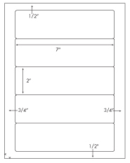 7 x 2 Rectangle <BR>Natural Ivory Label Sheet<BR>Wholesale Pkg. 250 sheets<BR><B>USUALLY SHIPS WITHIN 3 DAYS</B>