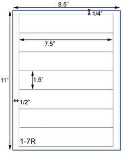 7 1/2 x 1 1/2 Rectangle <BR>Clear Gloss Laser Label Sheet<BR>Wholesale Pkg. 250 sheets<BR><B>USUALLY SHIPS WITHIN 24 HRS</B>