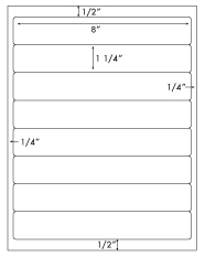 8 x 1 1/4 Rectangle <BR>Clear Gloss Laser Label Sheet<BR>Wholesale Pkg. 250 sheets<BR><B>USUALLY SHIPS WITHIN 24 HRS</B>