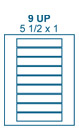 5 1/2 x 1 Rectangle <BR>Natural Ivory Printed Label Sheet<BR><B>USUALLY SHIPS IN 2-3 BUSINESS DAYS</B>