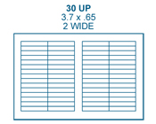3.7 x .65 Rectangle<BR>White Water-Resistant Polyester Label Sheet<BR>Wholesale Pkg. 250 sheets<BR><B>USUALLY SHIPS IN 24-48 HRS</B>
