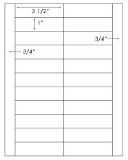 3 1/2 x 1 Rectangle <BR>White High Gloss Laser Label Sheet<BR>Wholesale Pkg. 250 sheets<BR><B>USUALLY SHIPS WITHIN 24 HRS</B>