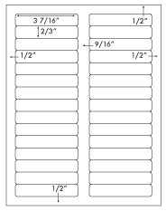 3 7/16 x 2/3 Rectangle <BR>White High Gloss Laser Label Sheet<BR>Wholesale Pkg. 250 sheets<BR><B>USUALLY SHIPS WITHIN 24 HRS</B>