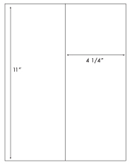 4 1/4 x 11 Rectangle <BR>White High Gloss Laser Label Sheet<BR>Wholesale Pkg. 250 sheets<BR><B>USUALLY SHIPS WITHIN 24 HRS</B>