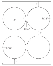 4 Diameter Round Circle<BR>White High Gloss Printed Label Sheet<BR><B>USUALLY SHIPS IN 2-3 BUSINESS DAYS</B>