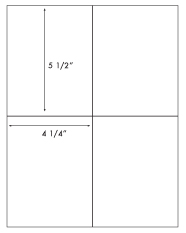 4 1/4 x 5 1/2 Rectangle <BR>Removable White Label Sheet<BR>Wholesale Pkg. 250 sheets<BR><B>USUALLY SHIPS WITHIN 24 HRS</B>
