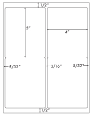 4 x 5 Rectangle<BR>Recycled White Label Sheet<BR>Wholesale Pkg. 250 sheets<BR><B>USUALLY SHIPS WITHIN 24 HRS</B>