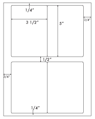 3 1/2 x 5 Rectangle <BR>Recycled White Label Sheet<BR>Wholesale Pkg. 250 sheets<BR><B>USUALLY SHIPS WITHIN 24 HRS</B>