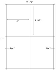 4 x 5 1/2 Rectangle<BR>White High Gloss Laser Label Sheet<BR>Wholesale Pkg. 250 sheets<BR><B>USUALLY SHIPS WITHIN 24 HRS</B>
