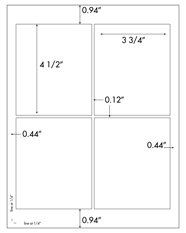 3 3/4 x 4 1/2 Rectangle<BR>Standard White Uncoated Label Sheet<BR>Wholesale Pkg. 250 sheets<BR><B>USUALLY SHIPS WITHIN 24 HRS</B>