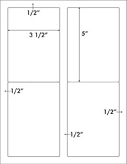 3 1/2 x 5 Rectangle w/ vert gutter<BR>White Opaque BLOCKOUT Label Sheet<BR>Wholesale Pkg. 250 sheets<BR><B>USUALLY SHIPS WITHIN 24 HRS</B>