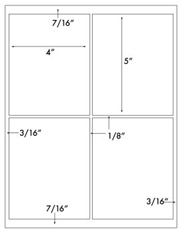 4 x 5 Rectangle w/ sq corners<BR>Removable White Label Sheet<BR>Wholesale Pkg. 250 sheets<BR><B>USUALLY SHIPS WITHIN 24 HRS</B>