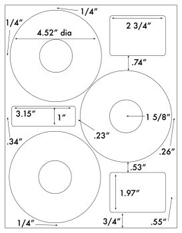 4.52 Diameter CD-3<BR>White High Gloss Laser Label Sheet<BR>Wholesale Pkg. 250 sheets<BR><B>USUALLY SHIPS WITHIN 24 HRS</B>
