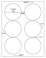 3 1/3&#34; Diameter Round Circle<BR>White Opaque BLOCKOUT Label Sheet<BR>Wholesale Pkg. 250 sheets<BR><B>USUALLY SHIPS WITHIN 24 HRS</B>
