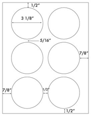 3 1/8&#34; Diameter Round Circle<BR>Water Resistant White Polyester Label Sheet <BR><I>Laser Printers Only</I><BR>Wholesale Pkg. 250 sheets<BR><B>USUALLY SHIPS WITHIN 24 HRS</B>