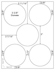 3 5/8 Diameter Round Circle<BR>White Opaque BLOCKOUT Printed Label Sheet<BR><B>USUALLY SHIPS IN 2-3 BUSINESS DAYS</B>