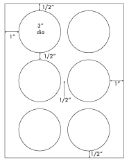 3 Diameter Round Circle<BR>Recycled White Printed Label Sheet<BR><B>USUALLY SHIPS IN 2-3 BUSINESS DAYS</B>