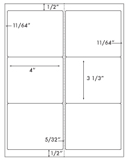 4 x 3 1/3 Rectangle w/ Vertical Perforations <BR>All Temperature White Label Sheet<BR>Wholesale Pkg. 250 sheets<BR><B>USUALLY SHIPS WITHIN 24 HRS</B>