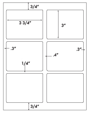 3 3/4 x 3 Rectangle<BR>White High Gloss Laser Label Sheet<BR>Wholesale Pkg. 250 sheets<BR><B>USUALLY SHIPS WITHIN 24 HRS</B>
